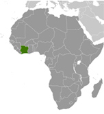 Location of Cote D'Ivoire in Africa